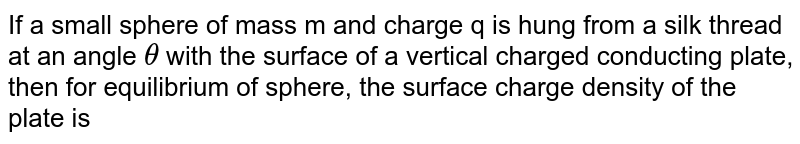 If a small sphere of mass m and charge q is hung from a silk thread at an angle `theta` with the surface of a vertical charged conducting plate, then for equilibrium of sphere, the surface charge density of the plate is