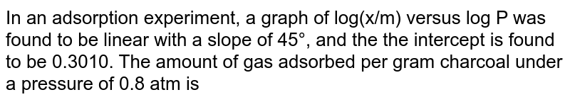 In an adsorption experiment, a graph of log(x/m) versus log P was found to be linear with a slope of 45°, and the the intercept is found to be 0.3010. The amount of gas adsorbed per gram charcoal under a pressure of 0.8 atm is
