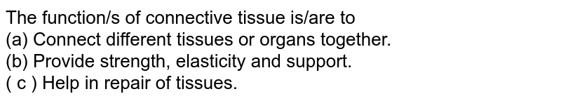 The function/s of connective tissue is/are to <BR> (a) Connect different tissues or organs together. <BR> (b) Provide strength, elasticity and support. <BR> ( c ) Help in repair of tissues.