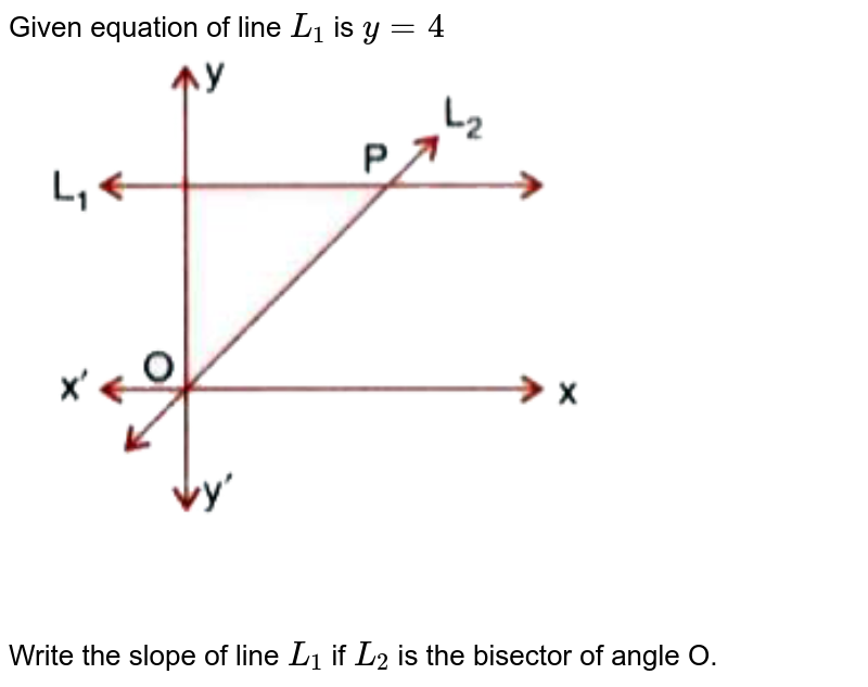 """Given equation of line `L_1` is `y = 4` <br> <img src=""""https://doubtnut-static.s.llnwi.net/static/physics_images/SEL_RKB_ICSE_MAT_X_C14_E06_044_Q01.png"""" width=""""80%""""> <br> Write the slope of line `L_1` if `L_2` is the bisector of angle O."""