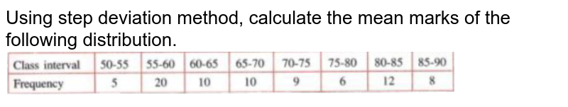 """Using step deviation method, calculate the mean marks of the following distribution. <br> <img src=""""https://doubtnut-static.s.llnwi.net/static/physics_images/SEL_RKB_ICSE_MAT_X_C24_E03_006_Q01.png"""" width=""""80%"""">"""