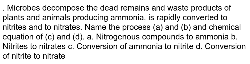 . Microbes decompose the dead remains and waste products of plants and animals producing ammonia, is rapidly converted to nitrites and to nitrates. Name the process (a) and (b) and chemical equation of (c) and (d). a. Nitrogenous compounds to ammonia b. Nitrites to nitrates c. Conversion of ammonia to nitrite d. Conversion of nitrite to nitrate