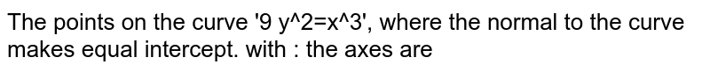 The points on the curve '9 y^2=x^3', where the normal to the curve makes equal intercept. with : the axes are