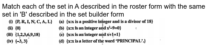 """Match each of the set in A described in the roster form with the same set in 'B' described in the set builder form <br> <img src=""""https://doubtnut-static.s.llnwi.net/static/physics_images/VPU_HSS_MAT_XI_C01_E08_010_Q01.png"""" width=""""80%"""">"""