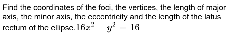 Find the coordinates of the foci, the vertices, the length of major axis, the minor axis, the eccentricity and the length of the latus rectum of the ellipse.`16 x^2+y^2=16`