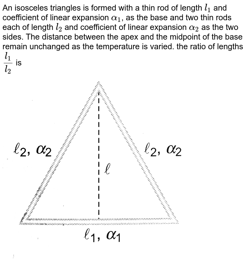 """An isosceles triangles is formed with a thin rod of length `l_(1)` and coefficient of linear expansion `alpha_(1)`, as the base and two thin rods each of length `l_(2)` and coefficient of linear expansion `alpha_(2)` as the two sides. The distance between the apex and the midpoint of the base remain unchanged as the temperature is varied. the ratio of lengths `(l_(1))/(l_(2))` is <br> <img src=""""https://d10lpgp6xz60nq.cloudfront.net/physics_images/A2Z_XI_C11_E01_022_Q01.png"""" width=""""80%"""">"""
