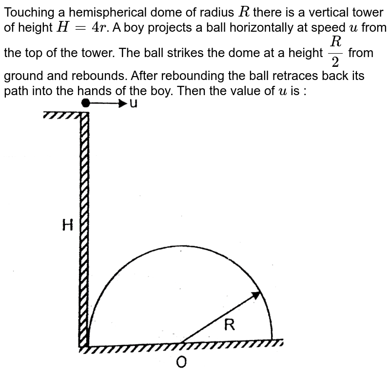 """Touching a hemispherical dome of radius `R` there is a vertical tower of height `H = 4 r`. A boy projects a ball horizontally at speed `u` from the top of the tower. The ball strikes the dome at a height `(R)/(2)` from ground and rebounds. After rebounding the ball retraces back its path into the hands of the boy. Then the value of `u` is : <br> <img src=""""https://d10lpgp6xz60nq.cloudfront.net/physics_images/RES_P07_17_APCT_P7_XI_E01_003_Q01.png"""" width=""""80%"""">"""