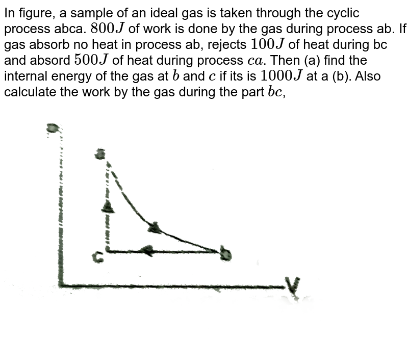 """In figure, a sample of an ideal gas is taken through the cyclic process abca. `800J` of work is done by the gas during process ab. If gas absorb no heat in process ab, rejects `100J` of heat during bc and absord `500J` of heat during process `ca`. Then (a) find the internal energy of the gas at `b` and `c` if its is `1000J` at a (b). Also calculate the work by the gas during the part `bc`, <br> <img src=""""https://d10lpgp6xz60nq.cloudfront.net/physics_images/RES_HAT_PHY_XI_C01_S01_011_Q01.png"""" width=""""80%"""">"""