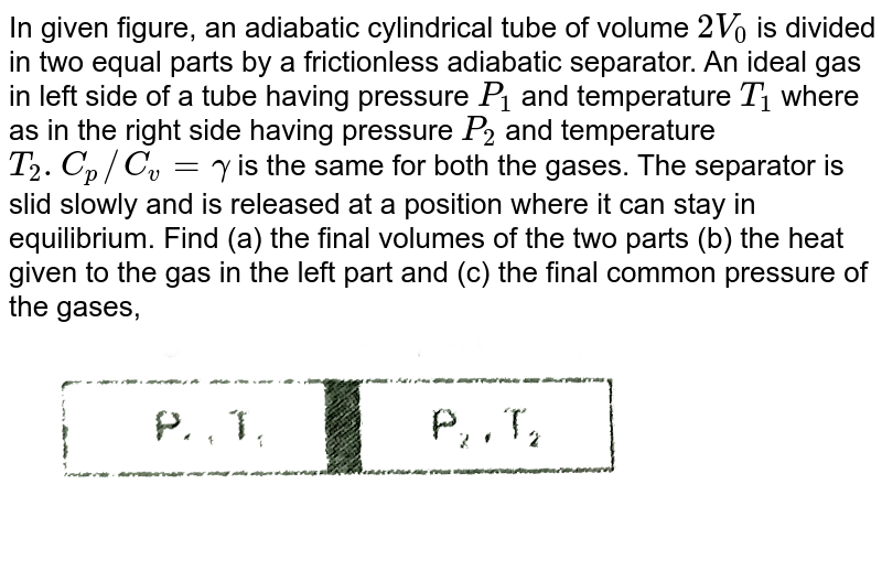 """In given figure, an adiabatic cylindrical tube of volume `2V_(0)` is divided in two equal parts by a frictionless adiabatic separator. An ideal gas in left side of a tube having pressure `P_(1)` and temperature `T_(1)` where as in the right side having pressure `P_(2)` and temperature `T_(2).C_(p)//C_(v) =gamma` is the same for both the gases. The separator is slid slowly  and is released at a position where it can stay in equilibrium. Find (a) the final volumes of the two parts (b) the heat given to the gas in the left part and (c) the final common pressure of the gases, <br> <img src=""""https://d10lpgp6xz60nq.cloudfront.net/physics_images/RES_HAT_PHY_XI_C01_E01_301_Q01.png"""" width=""""80%"""">"""