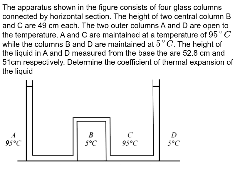 """The apparatus shown in the figure consists of four glass columns  connected by horizontal section. The height of two central column B and C are 49 cm each. The two outer columns A and D are open to the temperature. A and C are maintained at a temperature  of `95^@C` while the columns B and D are maintained at `5^@C`. The height of the liquid in A and D measured from the base the are 52.8 cm and 51cm respectively. Determine the coefficient of thermal expansion of the liquid <br>  <img src=""""https://d10lpgp6xz60nq.cloudfront.net/physics_images/JMA_HTG_C09_125_Q01.png"""" width=""""80%"""">"""