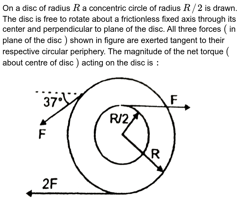 """On a disc of radius `R` a concentric circle of radius `R//2` is drawn. The disc is free to rotate about a frictionless fixed axis through its center and perpendicular to plane of the disc. All three forces `(` in plane of the disc `)` shown in figure are exerted tangent to their respective circular periphery. The magnitude of the net torque `(` about centre of disc `)` acting on the disc is `:`  <br> <img src=""""https://d10lpgp6xz60nq.cloudfront.net/physics_images/RES_PHY_DPP_60_XI_E01_482_Q01.png"""" width=""""80%"""">"""