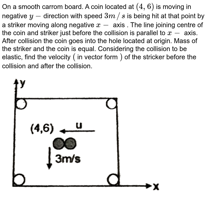 """On a smooth carrom board. A coin located at `(4,6)` is moving in negative `y-`direction with speed `3m//s` is being hit at that point by a striker moving along negative `x-` axis . The line joining centre of the coin and striker just before the collision is parallel to `x-` axis. After collision the coin goes into the hole located at origin. Mass of the striker and the coin is equal. Considering the collision to be elastic, find the velocity `(` in vector form `)` of the stricker before the collision and after the collision. <br> <img src=""""https://d10lpgp6xz60nq.cloudfront.net/physics_images/RES_PHY_DPP_61_XI_E01_494_Q01.png"""" width=""""80%"""">"""