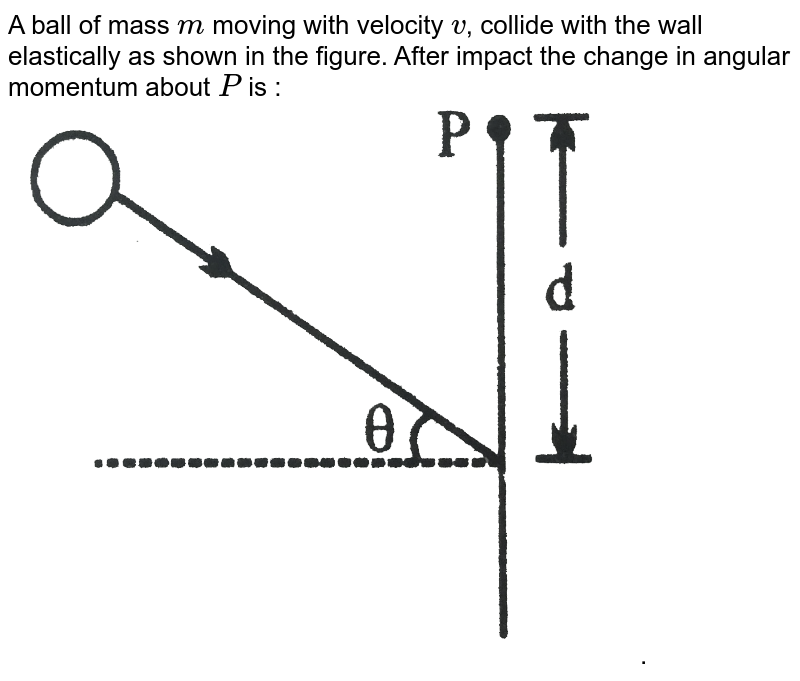 """A ball of mass `m` moving with velocity `v`, collide with the wall elastically as shown in the figure. After impact the change in angular momentum about `P` is : <br> <img src=""""https://d10lpgp6xz60nq.cloudfront.net/physics_images/NG_PHY_MEC_V01_C03_E01_032_Q01.png"""" width=""""80%"""">."""