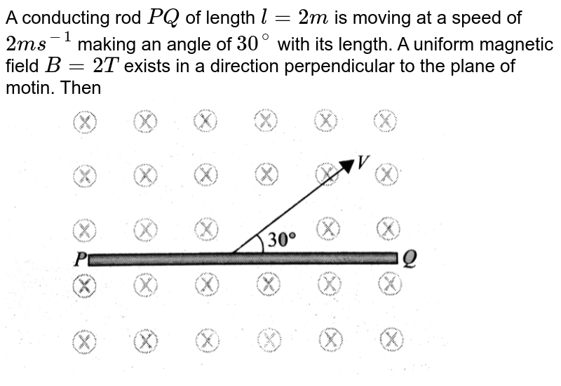 """A conducting rod `PQ` of length `l = 2m` is moving at a speed of `2m s^(-1)` making an angle of `30^(@)` with its length. A uniform magnetic field `B = 2T` exists in a direction perpendicular to the plane of motin. Then  <br> <img src=""""https://d10lpgp6xz60nq.cloudfront.net/physics_images/BMS_V05_C03_E01_132_Q01.png"""" width=""""80%"""">"""