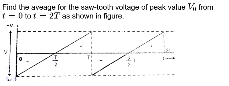 """Find the aveage for the saw-tooth voltage of peak value `V_(0)` from `t=0` to `t=2T` as shown in figure.  <br> <img src=""""https://d10lpgp6xz60nq.cloudfront.net/physics_images/RES_ELE_PHY_V02_XII_C03_E01_004_Q01.png"""" width=""""80%"""">"""