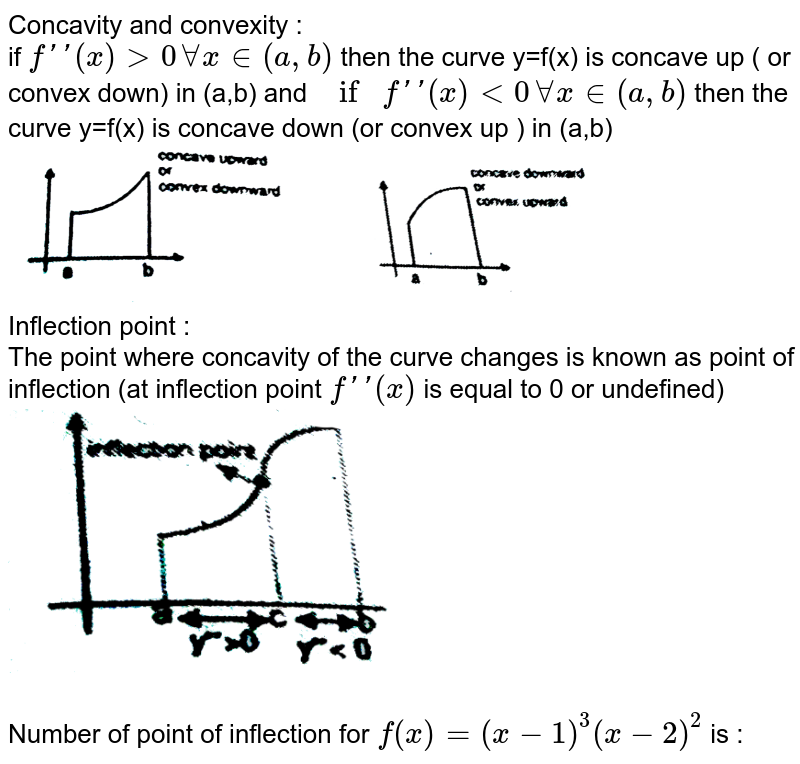 """Concavity and convexity :  <br>  if `f''(x) gt 0 AA x in (a,b)` then the  curve y=f(x) is  concave up ( or convex down) in  (a,b) and  `if f''(x) lt 0 AA  x in  (a,b)` then the  curve y=f(x) is concave down  (or convex up ) in (a,b) <br> <img src=""""https://d10lpgp6xz60nq.cloudfront.net/physics_images/RES_MATH_AOD_E02_201_Q01.png"""" width=""""80%""""> <br>  Inflection point : <br>  The point  where  concavity of  the curve changes is known as point  of inflection (at inflection point `f''(x)` is equal  to 0 or  undefined) <br> <img src=""""https://d10lpgp6xz60nq.cloudfront.net/physics_images/RES_MATH_AOD_E02_201_Q02.png"""" width=""""50%""""> <br>  <br>  Number of point  of inflection  for  `f(x)  =(x-1)^(3) (x-2)^(2)` is :"""