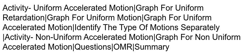 Activity- Uniform Accelerated Motion|Graph For Uniform Retardation|Graph For Uniform Motion|Graph For Uniform Accelerated Motion|Identify The Type Of Motions Separately |Activity- Non-Uniform Accelerated Motion|Graph For Non Uniform Accelerated Motion|Questions|OMR|Summary