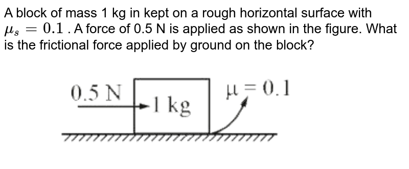 """A block of mass 1 kg in kept on a rough horizontal surface with  `mu_(s)=0.1` . A force of 0.5 N is applied as shown in the figure. What is the frictional force applied by ground on the block? <br> <img src=""""https://d10lpgp6xz60nq.cloudfront.net/physics_images/VMC_PHY_WOR_BOK_01_C01_E02_037_Q01.png"""" width=""""80%"""">"""