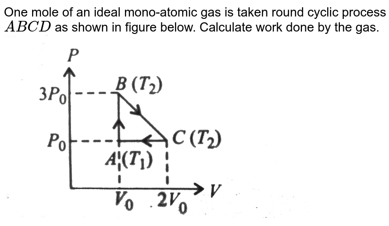 """One mole of an ideal mono-atomic gas is taken round cyclic process `ABCD` as shown in figure below. Calculate work done by the gas.<br> <img src=""""https://d10lpgp6xz60nq.cloudfront.net/physics_images/V_PHY_CHM_P2_C06_S01_043_Q01.png"""" width=""""80%"""">"""