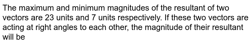 The maximum and minimum magnitudes of the resultant of two vectors are  23 units and 7  units respectively. If these two vectors are acting at right angles to each other, the magnitude of their resultant will be