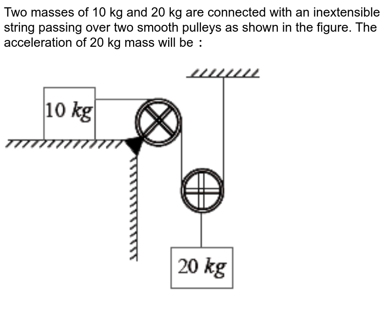 """Two masses of 10 kg and 20 kg are connected with an inextensible string passing over two smooth pulleys as shown in the figure. The acceleration of 20 kg mass will be `:` <br> <img src=""""https://d10lpgp6xz60nq.cloudfront.net/physics_images/VMC_XI_PHY_WB_02_C04_E03_023_Q01.png"""" width=""""80%"""">"""