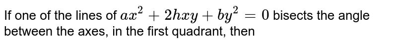 If one of the lines of `ax^(2)+2hxy+by^(2)=0` bisects the angle between the axes, in the first quadrant, then