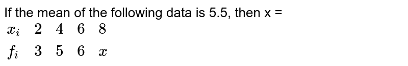 """If the mean of the following data is  5.5, then x  =  <br> `{:(x_(i),2,4,6,8),(f_(i)"""""""",3,5,6,x):}`"""