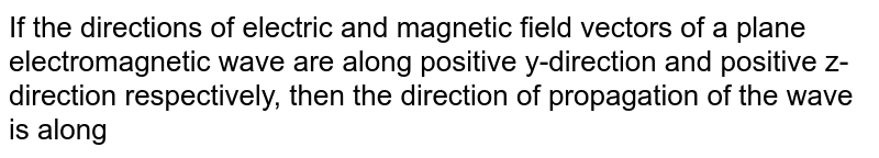 If the directions of electric and magnetic field vectors of a plane electromagnetic wave are along positive y-direction and positive z-direction respectively, then the direction of propagation of the wave is along