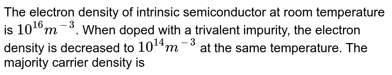 The electron density of intrinsic semiconductor at room temperature is `10^(16) m^(-3)`. When doped with a trivalent impurity, the electron density is decreased to `10^(14) m^(-3)` at the same temperature. The majority carrier density is