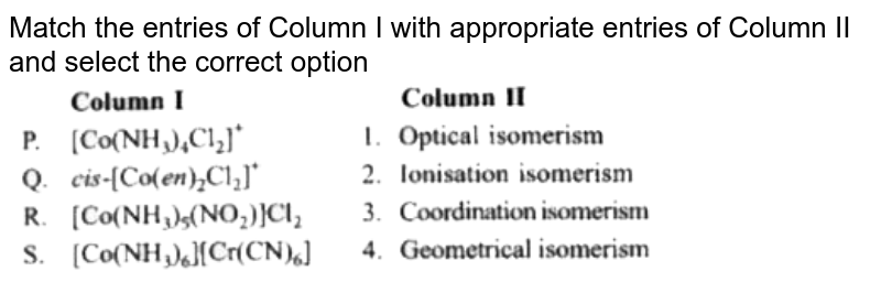"""Match the entries of Column I with appropriate entries of Column II and select the correct option  <br>  <img src=""""https://doubtnut-static.s.llnwi.net/static/physics_images/MTG_NEET_GID_CHE_XII_C09_E02_011_Q01.png"""" width=""""80%"""">"""
