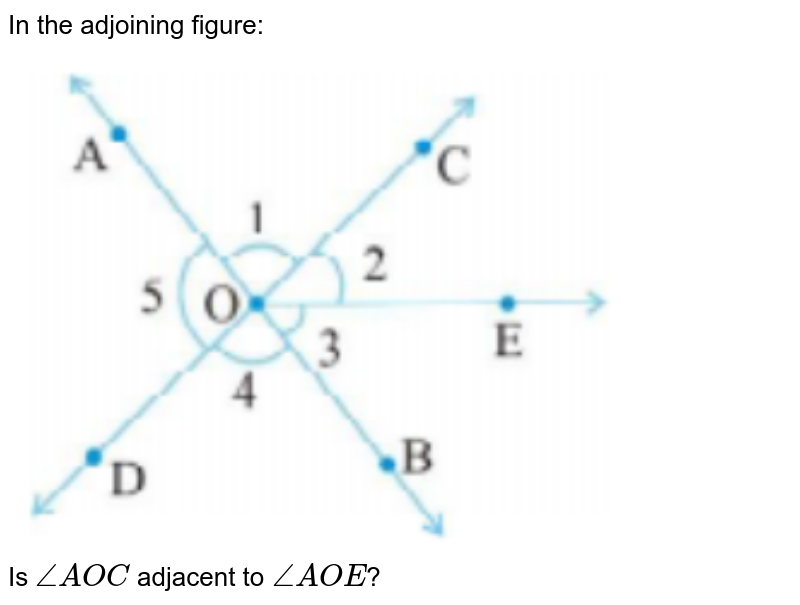 """In the adjoining figure: <br> <img src=""""https://doubtnut-static.s.llnwi.net/static/physics_images/PSEB_MAT_VII_C05_E07_021_Q01.png"""" width=""""80%""""> <br> Is `angleAOC` adjacent to `angle AOE`?"""