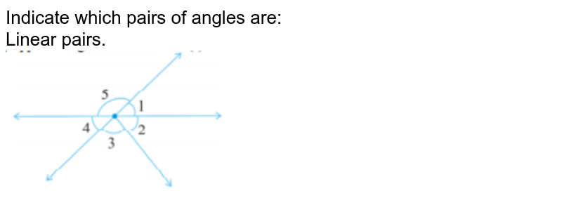 Indicate which pairs of angles are:<br> Linear pairs.