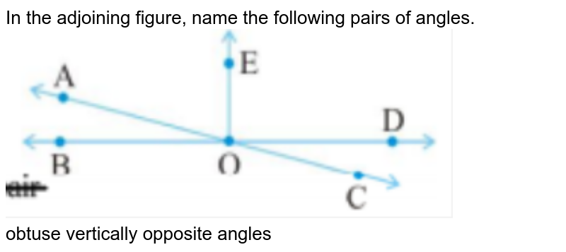 """In the adjoining figure, name the following pairs of angles. <br><img src=""""https://doubtnut-static.s.llnwi.net/static/physics_images/PSEB_MAT_VII_C05_E07_039_Q01.png"""" width=""""80%""""><br> obtuse vertically opposite angles"""