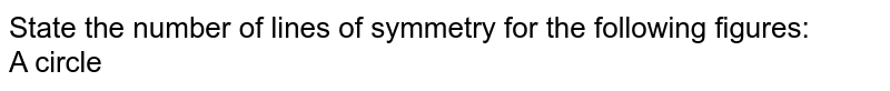 State the number of lines of symmetry for the following figures:<br>A circle