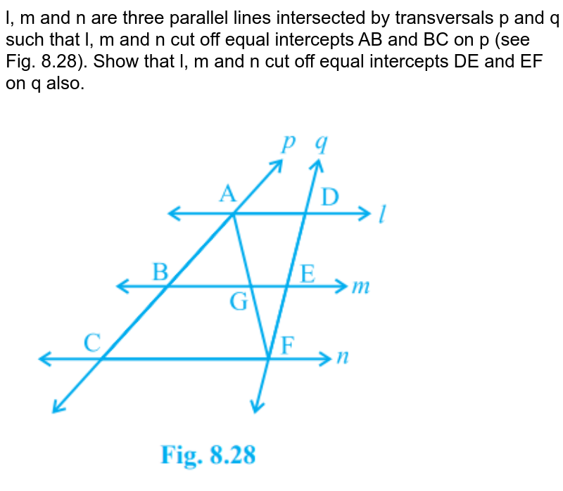 """l, m and n are three parallel lines intersected by transversals p and q such that l, m and n cut off equal intercepts AB and BC on p (see Fig. 8.28). Show that l, m and n cut off equal intercepts DE and EF on q also. <br><img src=""""https://doubtnut-static.s.llnwi.net/static/physics_images/PSEB_MAT_IX_C08_S02_002_Q01.png"""" width=""""80%"""">"""