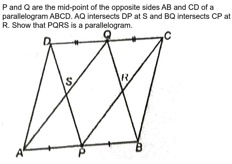 """P and Q are the mid-point of the oposite sides AB and CD of a parallelogram ABCD. AQ interects DP at S and BQ interects CP at R. Show that PQRS is a parallelogram. <br> <img src=""""https://d10lpgp6xz60nq.cloudfront.net/physics_images/NTN_MATH_IX_C08_S01_038_Q01.png"""" width=""""80%"""">"""