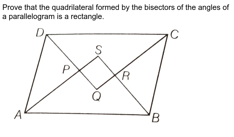 """Prove that the quadrilateral formed by the bisectors of the angles of a parallelogram is a rectangle. <br> <img src=""""https://d10lpgp6xz60nq.cloudfront.net/physics_images/ARH_NCERT_EXE_MATH_IX_C08_S01_051_Q01.png"""" width=""""80%"""">"""