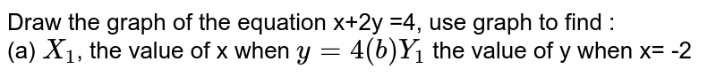 Draw the graph of the equation x+2y =4, use graph to find : <br> (a) `X_(1)`, the value of x when `y =4 (b) Y_(1)` the value of y when x= -2