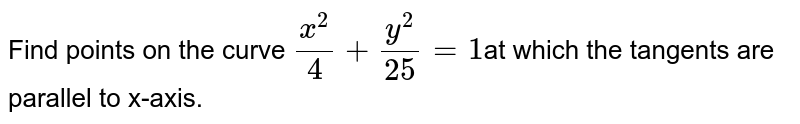 Find points on the curve `x^2/4 + y^2/25 = 1`at which the tangents are  parallel to x-axis.
