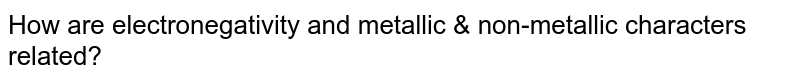 How are electronegativity and metallic & non-metallic characters related?