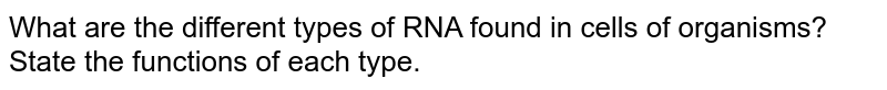 What are the different types of RNA found in cells of organisms? State the functions of each type.