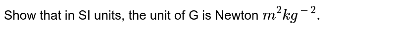 Show that in SI units, the unit of G is Newton `m^(2)kg^(-2).`