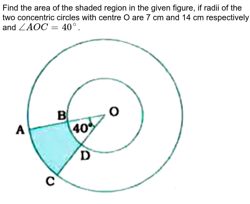 """Find the area of the shaded region in the given figure, if radii of the two concentric circles with centre O are 7 cm and 14 cm respectively and `angle AOC = 40^(@)`. <br> <img src=""""https://doubtnut-static.s.llnwi.net/static/physics_images/NVT_MAT_X_P2_C12_E03_002_Q01.png"""" width=""""80%"""">"""
