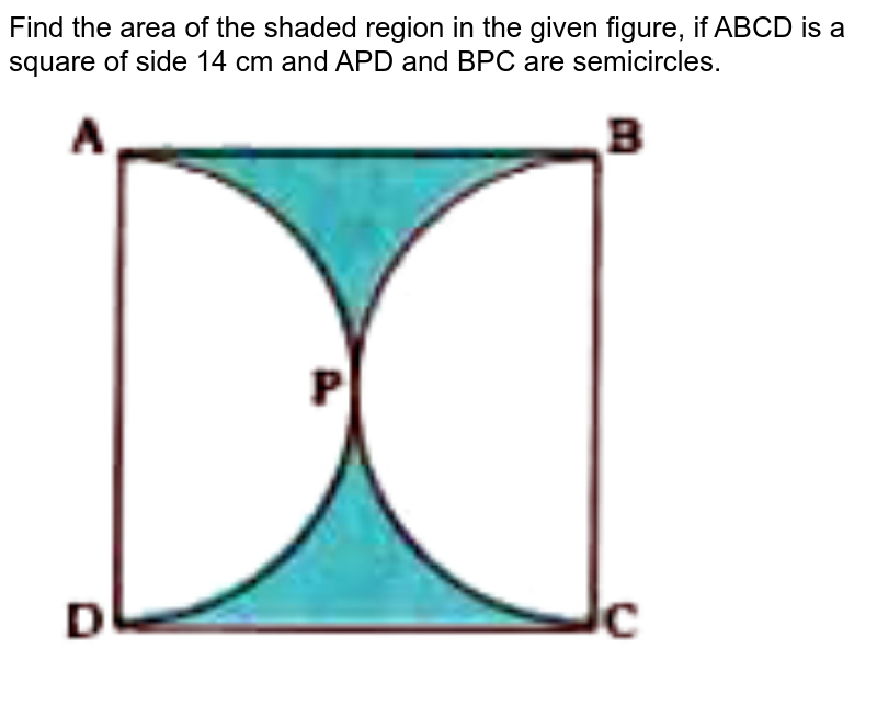 """Find the area of the shaded region in the given figure, if ABCD is a square of side 1.4 cm and APD and BPC are semicircles. <br> <img src=""""https://doubtnut-static.s.llnwi.net/static/physics_images/NVT_MAT_X_P2_C12_E03_003_Q01.png"""" width=""""80%"""">"""