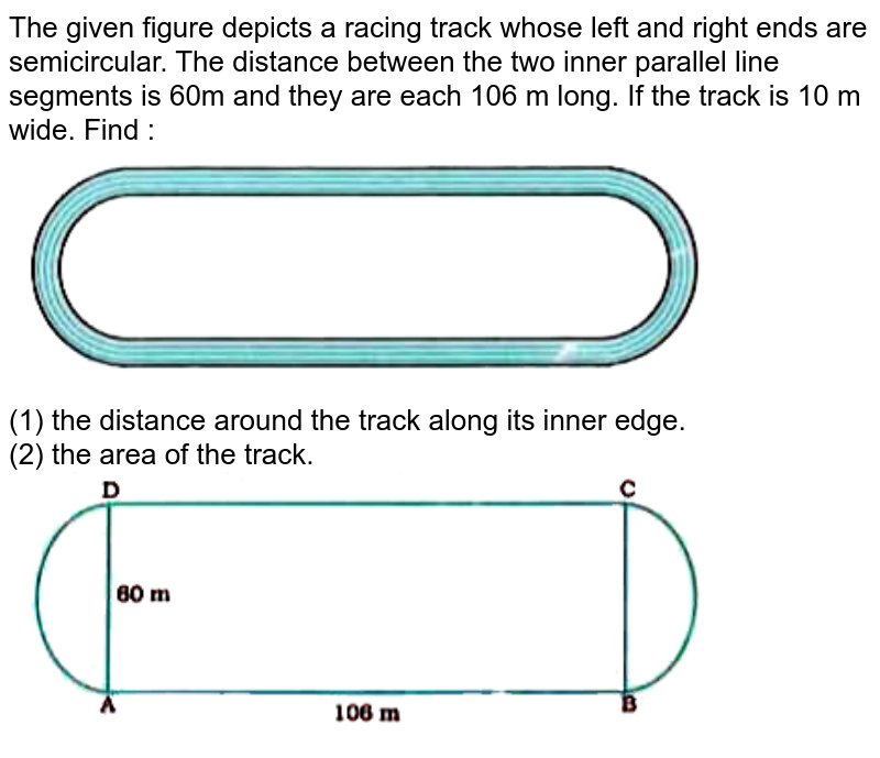 """The given figure depicts a racing track whose left and right ends are semicircular. The distance between the two inner parallel line segments is 60m and they are each 106 m long. If the track is 10 m wide. Find : <br> <img src=""""https://doubtnut-static.s.llnwi.net/static/physics_images/NVT_MAT_X_P2_C12_E03_008_Q01.png"""" width=""""80%""""> <br> (1) the distance around the track along its inner edge. <br> (2) the area of the track. <br> <img src=""""https://doubtnut-static.s.llnwi.net/static/physics_images/NVT_MAT_X_P2_C12_E03_008_Q02.png"""" width=""""80%"""">"""