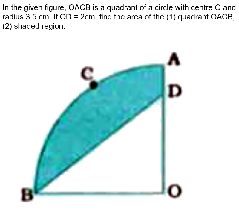 """In the given figure, OACB is a quadrant of a circle with centre O and radius 3.5 cm. If OD = 2cm, find the area of the (1) quadrant OACD, (2) shaded region. <br> <img src=""""https://doubtnut-static.s.llnwi.net/static/physics_images/NVT_MAT_X_P2_C12_E03_012_Q01.png"""" width=""""80%"""">"""