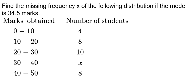 """Find the missing frequency x of the following distribution  if the mode is 34.5 marks. <br>  `{:(""""Marks  obtained """",""""Number of students """"),(""""  """"0-10,""""   """"4),(""""  """"10-20,""""   """"8),(""""  """"20-30,""""  """"10),(""""  """"30-40,""""   """"x),(""""  """"40-50,""""   """"8):}`"""