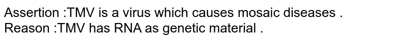 Assertion  :TMV is a virus which causes mosaic diseases . <br> Reason :TMV has RNA as genetic material .