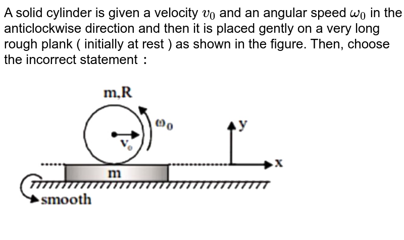 """A solid cylinder is given a velocity `v_(0)` and an angular speed `omega_(0)` in the anticlockwise direction and then it is placed gently on a very long rough plank ( initially at rest ) as shown in the figure. Then, choose the incorrect statement `:` <br> <img src=""""https://d10lpgp6xz60nq.cloudfront.net/physics_images/NTA_JEE_MOK_TST_09_E01_015_Q01.png"""" width=""""80%"""">"""