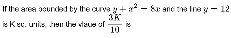 If the area bounded by the curve `y+x^(2)=8x` and the line `y=12` is K sq. units, then the vlaue of `(3K)/(10)` is